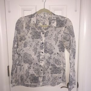 Madewell Button Up Shrunken Boy Shirt in Map View